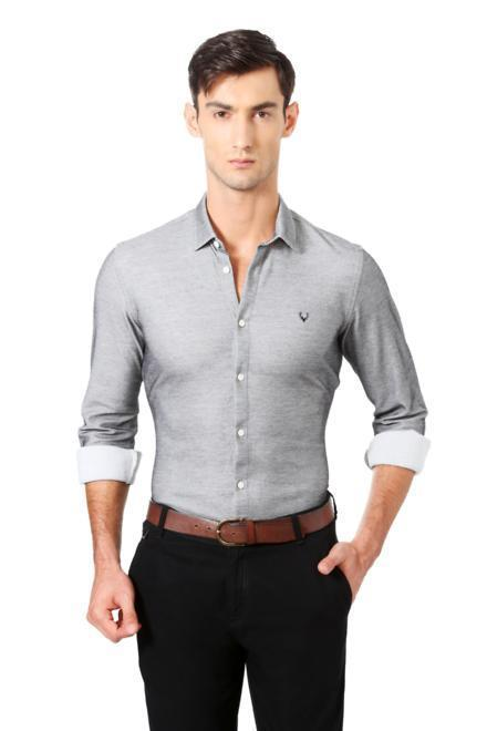 48ab3a1f Allen Solly Shirts, Allen Solly Grey Shirt for Men at Planetfashion.in