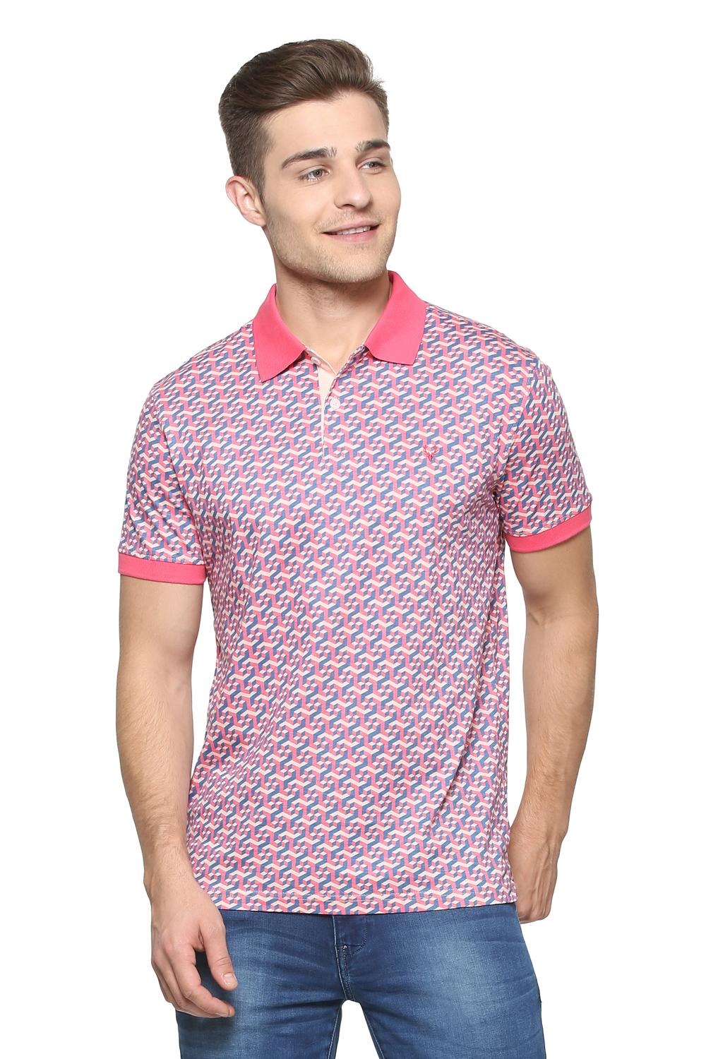 Allen Solly T Shirts Allen Solly Pink T Shirt For Men At Planetfashion In