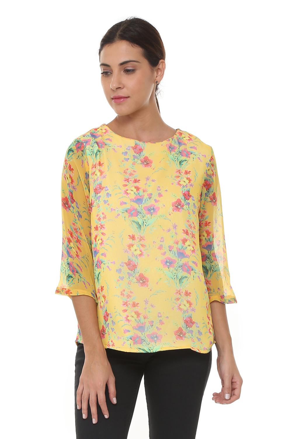 2fdb17b811980 Solly Tees & Tops, Allen Solly Yellow Top for Women at Planetfashion.in